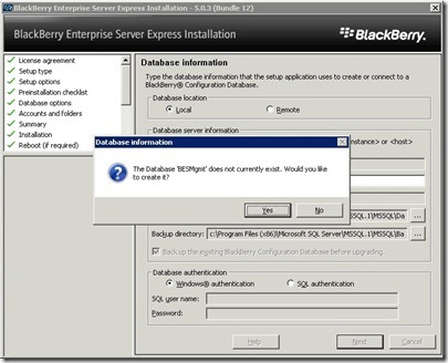 11 BES database creation