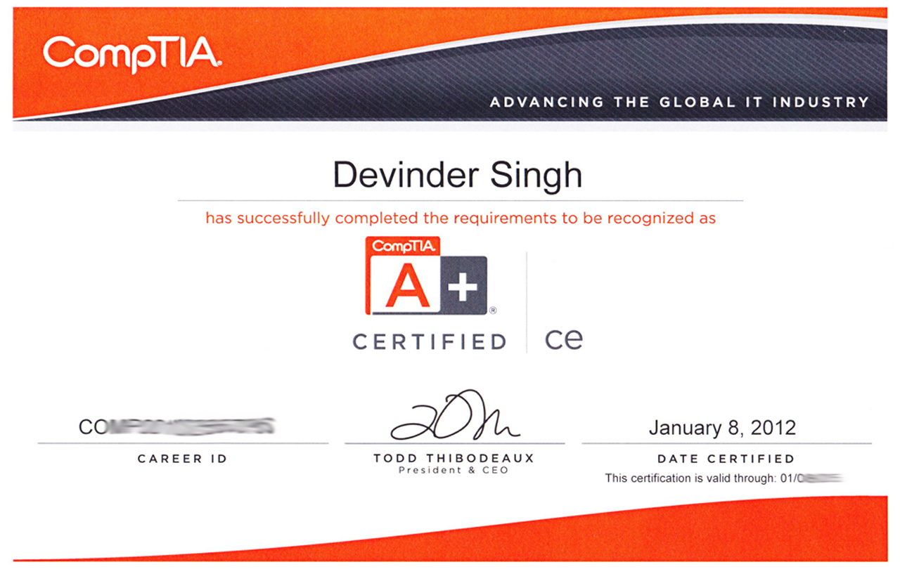 Learning devinder singh chandigarh canada comptia a certificate 1betcityfo Gallery